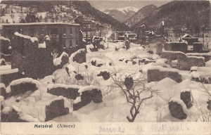 Metzeral ruines in snow posted 1919